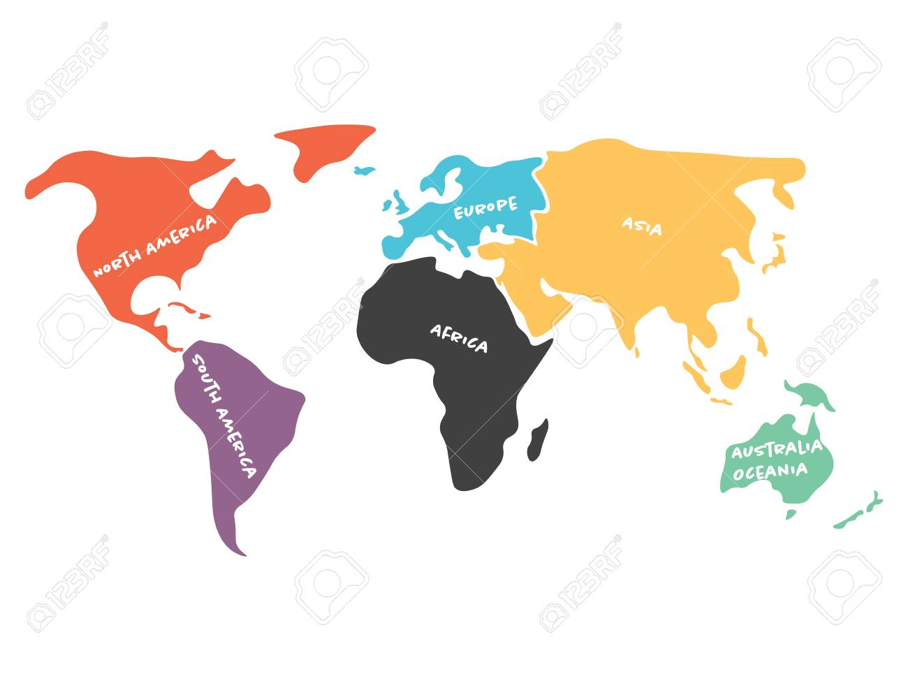 Multicolored world map divided to six continents in different multicolored world map divided to six continents in different colors north america south america gumiabroncs Image collections