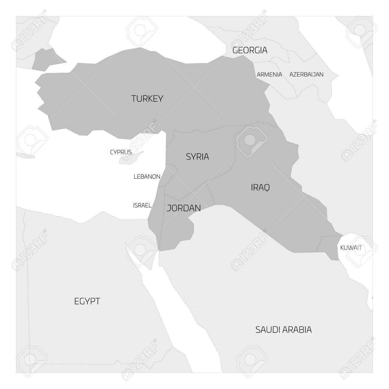 Syrien Irak Karte.Stock Photo