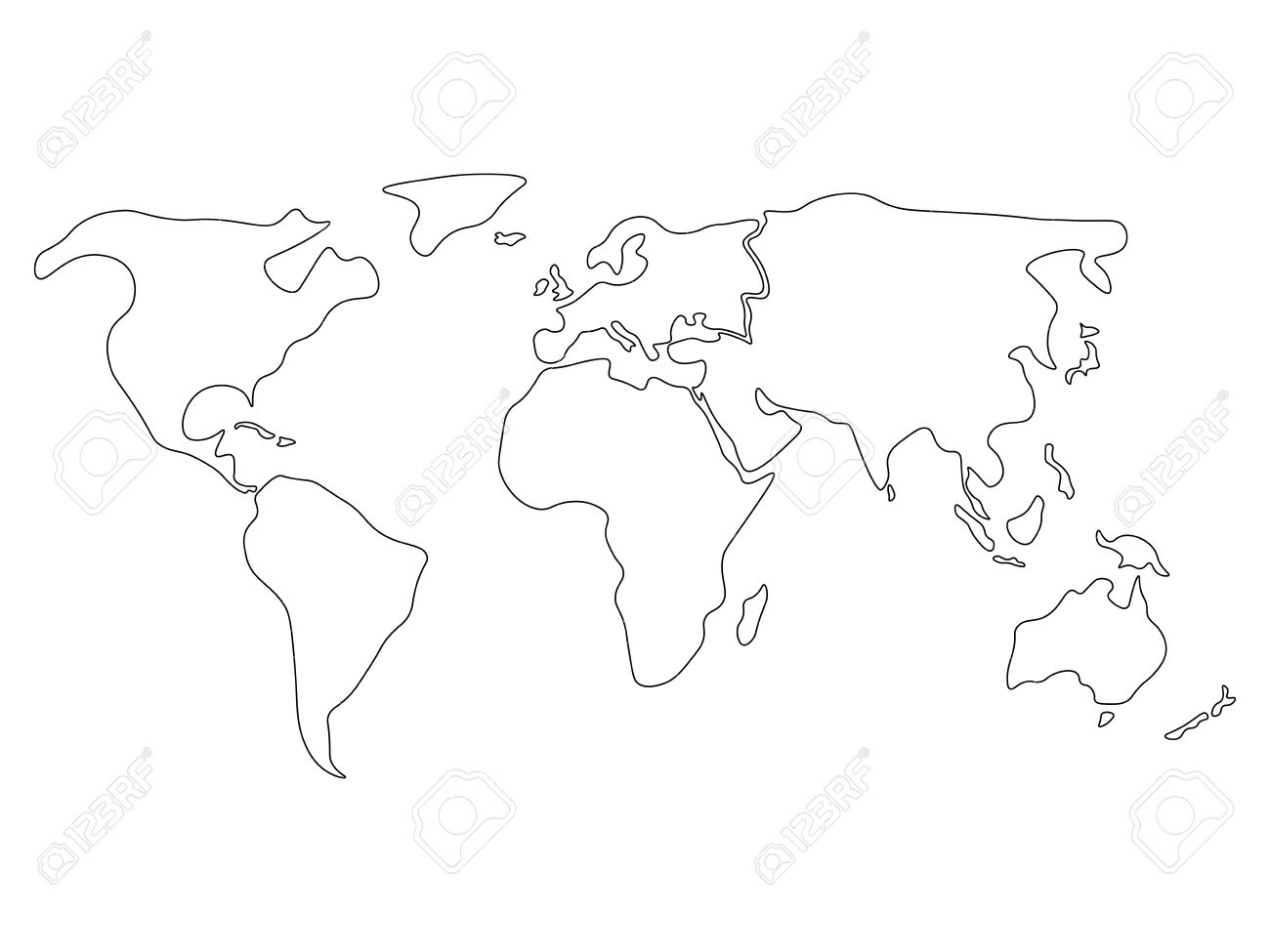 World Map Divided To Six Continents In Black North America - North america blank outline map