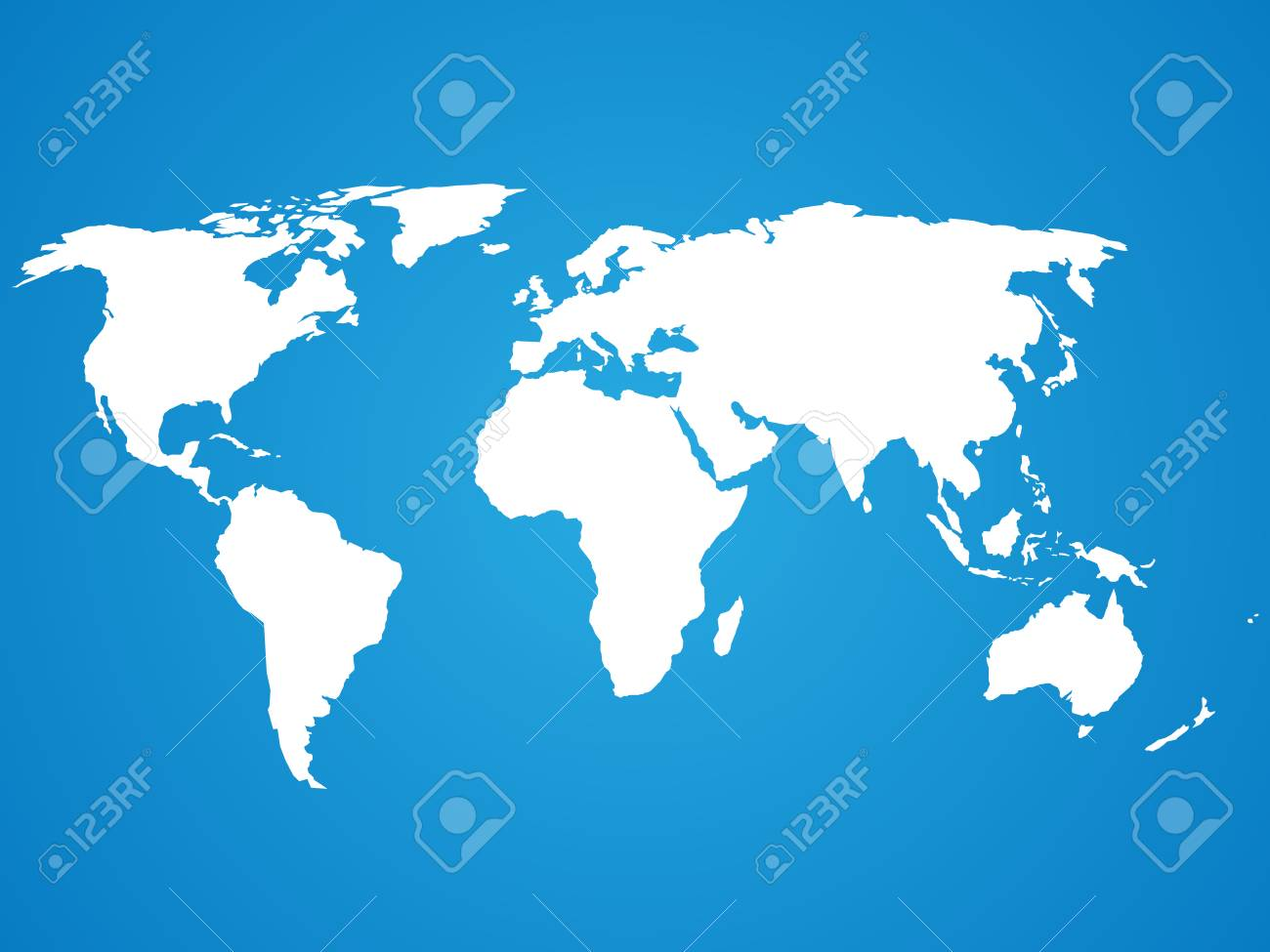 Simplified White World Map Silhouette On Blue Circular Gradient