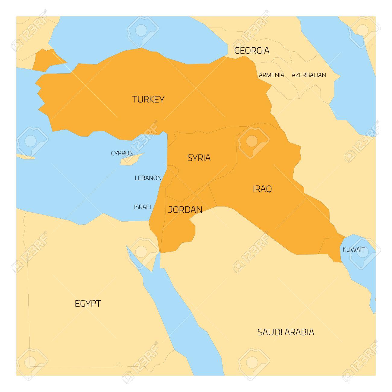 Syrien Irak Karte.Karte Des Nahen Osten Oder In Der Nähe Von East Transkontinental
