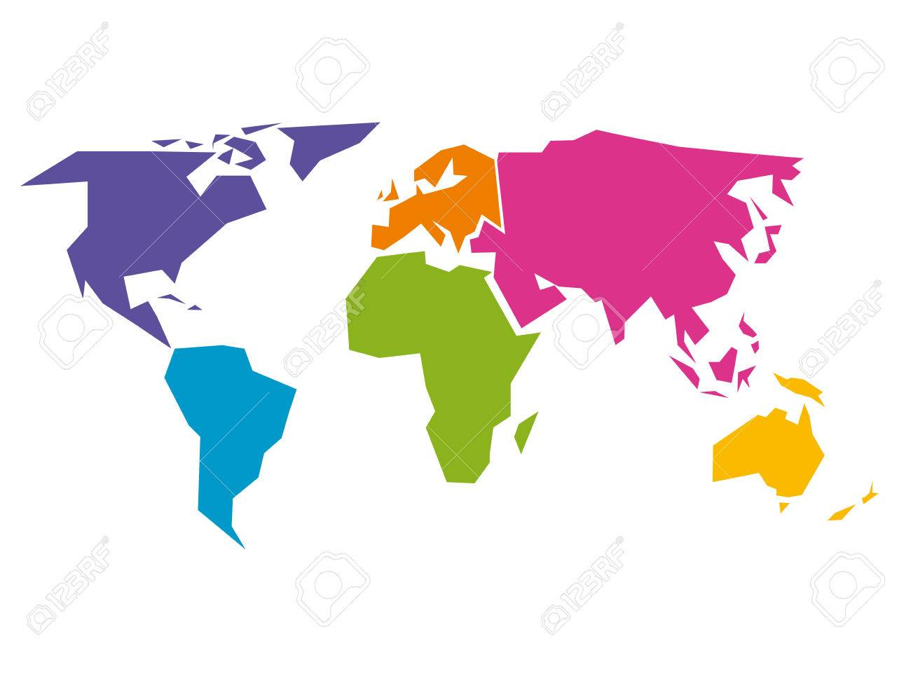 Simplified World Map Divided To Six Continents South America