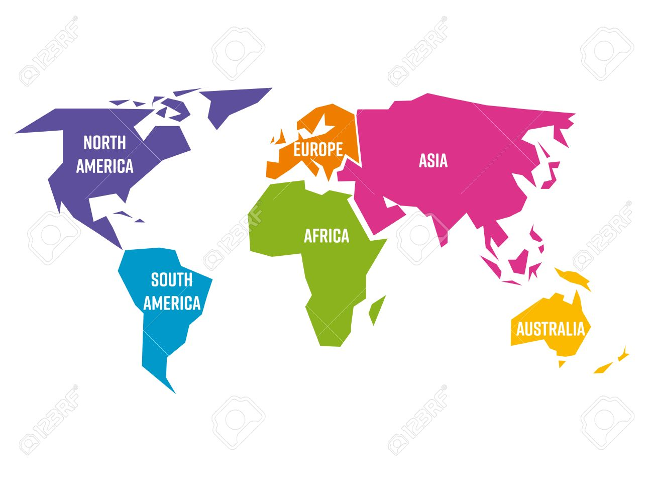 Simplified world map divided to six continents south america simplified world map divided to six continents south america north america africa gumiabroncs Images