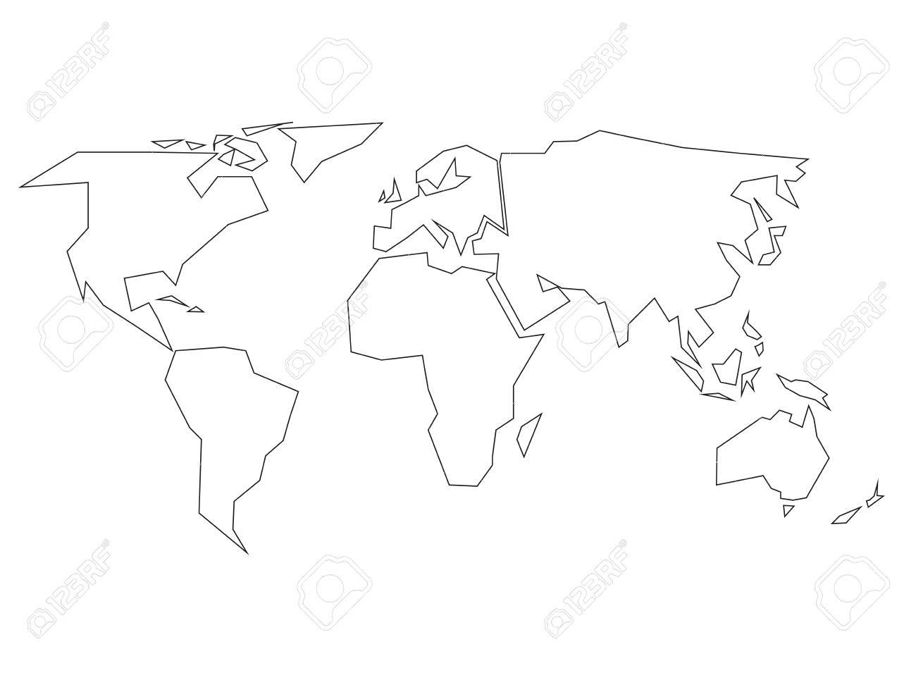 92 world map black and white simple simple world map with cou simplified black outline of world map divided to six continents simple flat vector illustration on gumiabroncs Choice Image