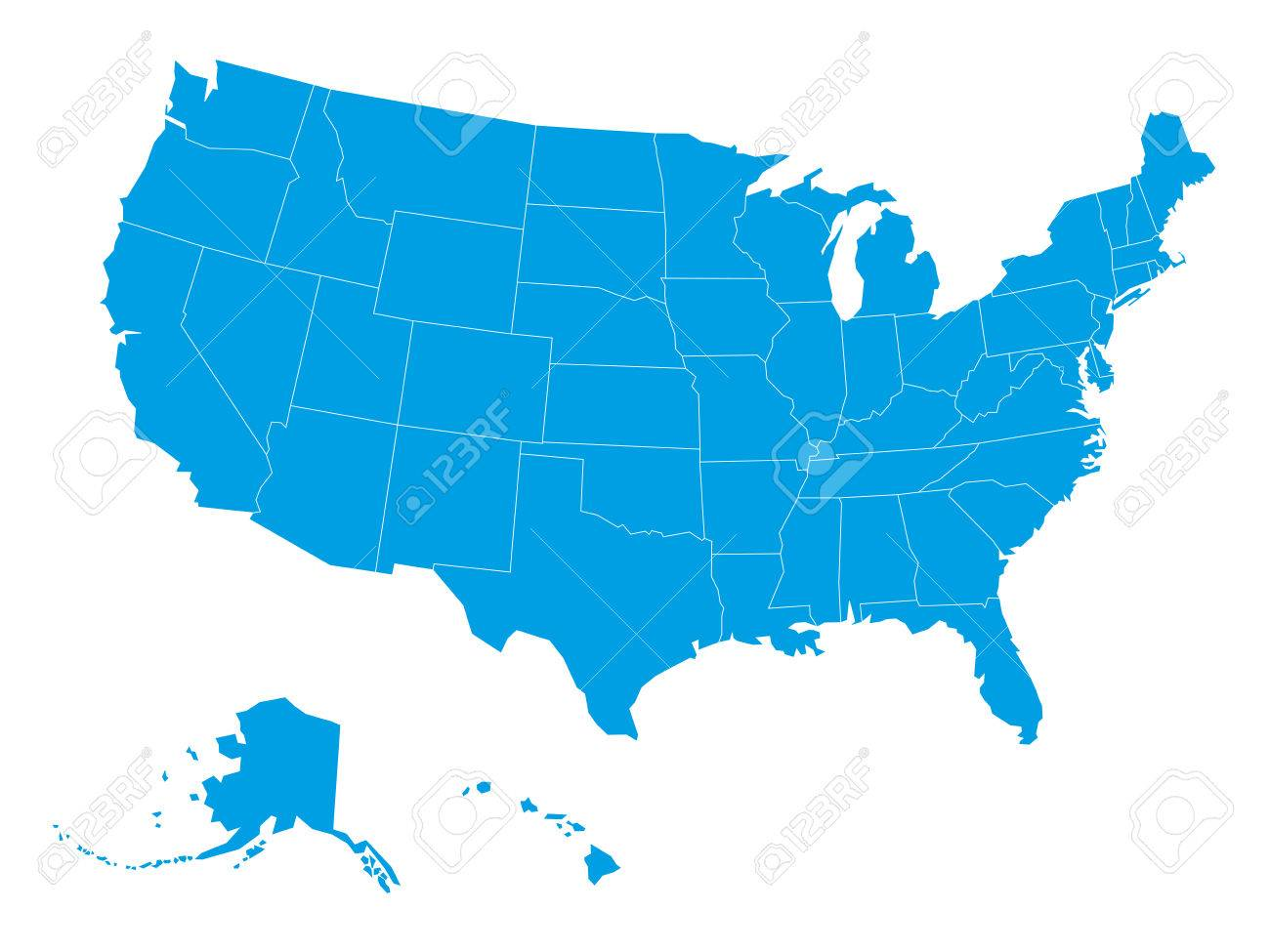 blank map of united states of america divided into states