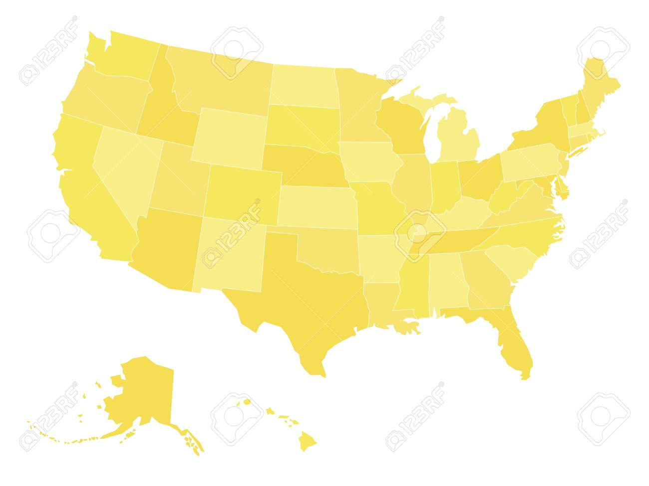 Blank Map Of United States Of America Aka Usa Divided Into