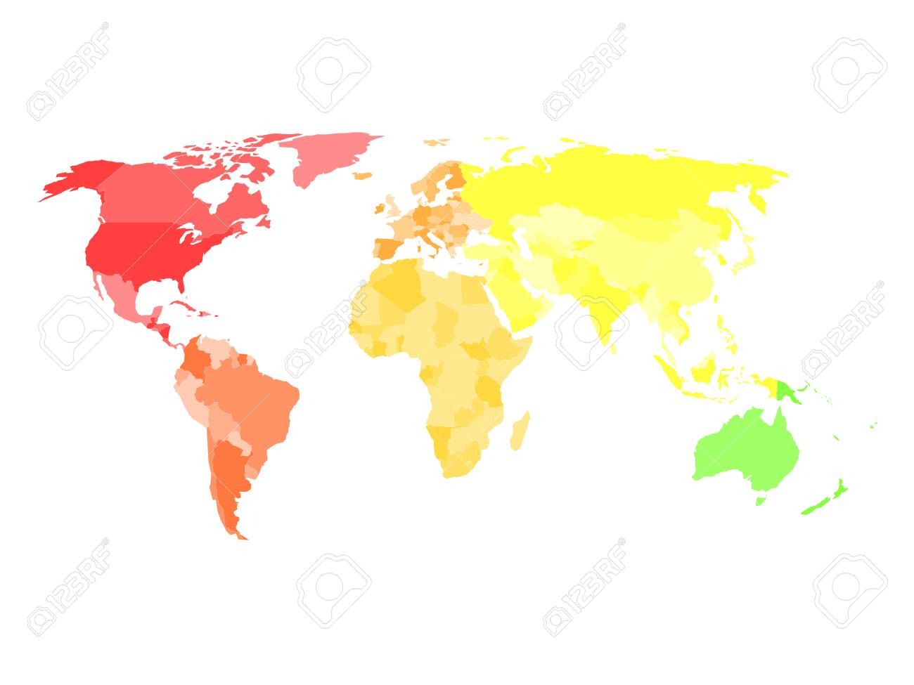 Blank simplified political map of world with different colors.. on latin america blank political map, central america blank political map, north america blank continent, north america blank rivers map,
