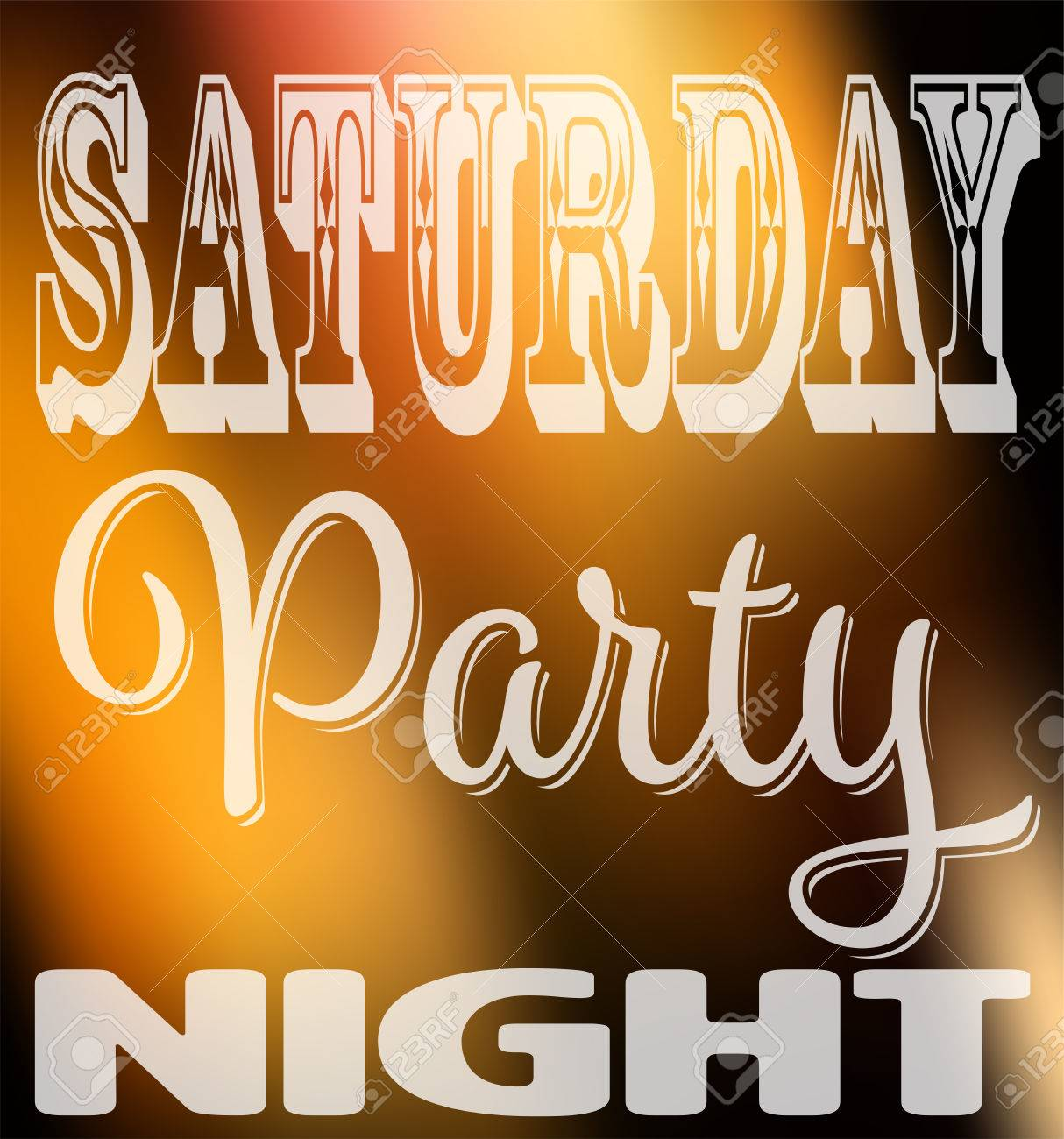 Saturday Party Night Quote Square Card With Label In Different