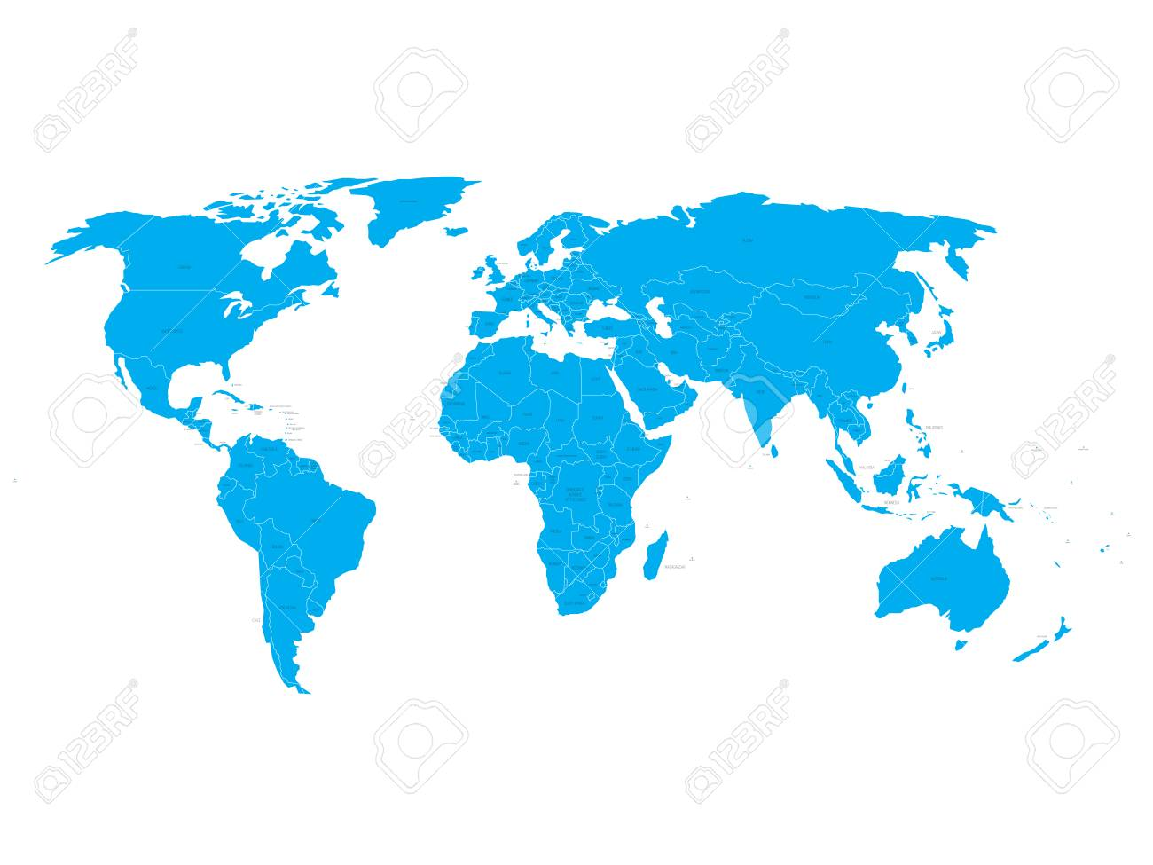 Vector World Map With State Name Labels. Blue Land With Black ...