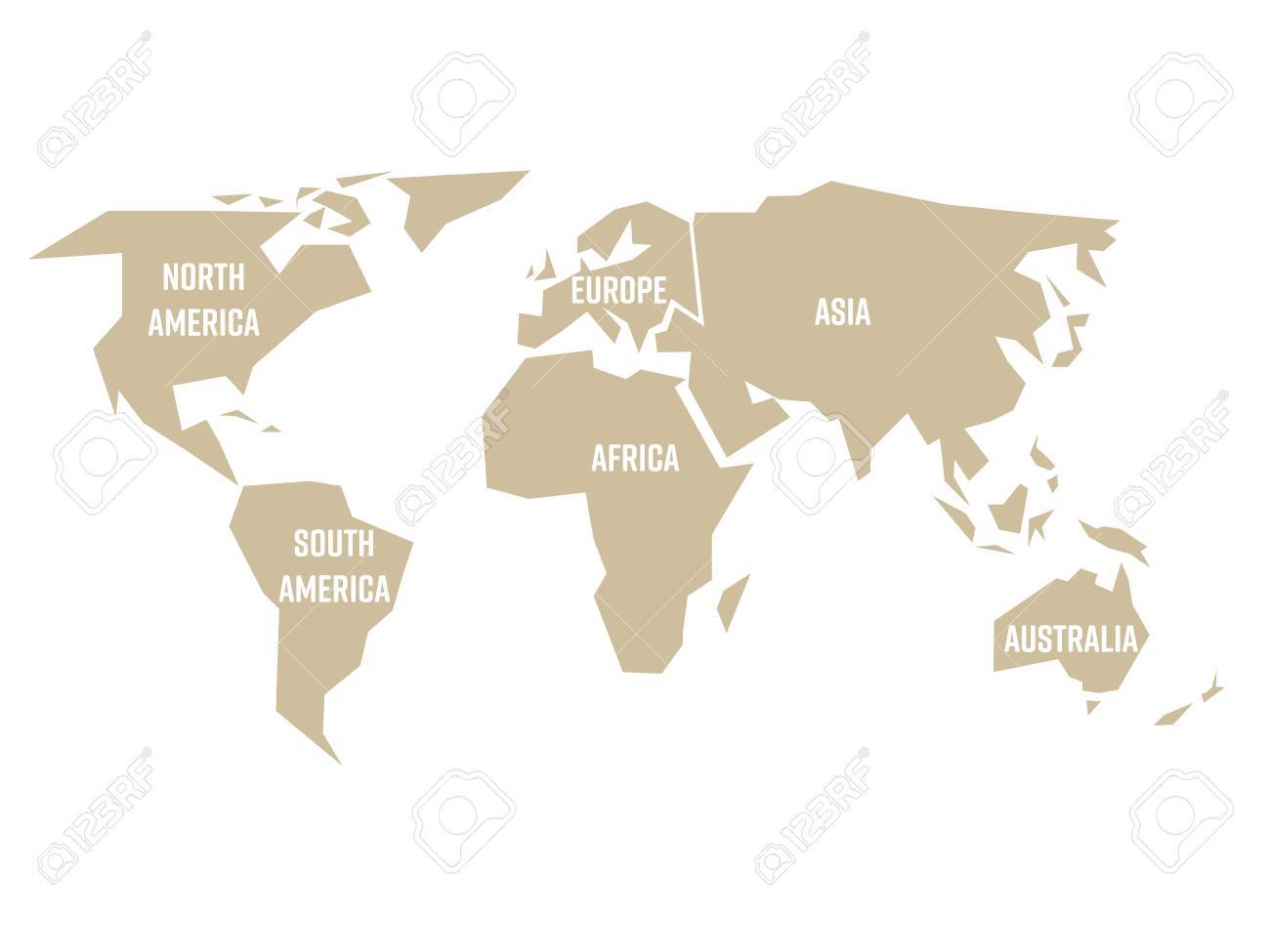 Simplified Beige Silhouette Of World Map Divided To Six Continents