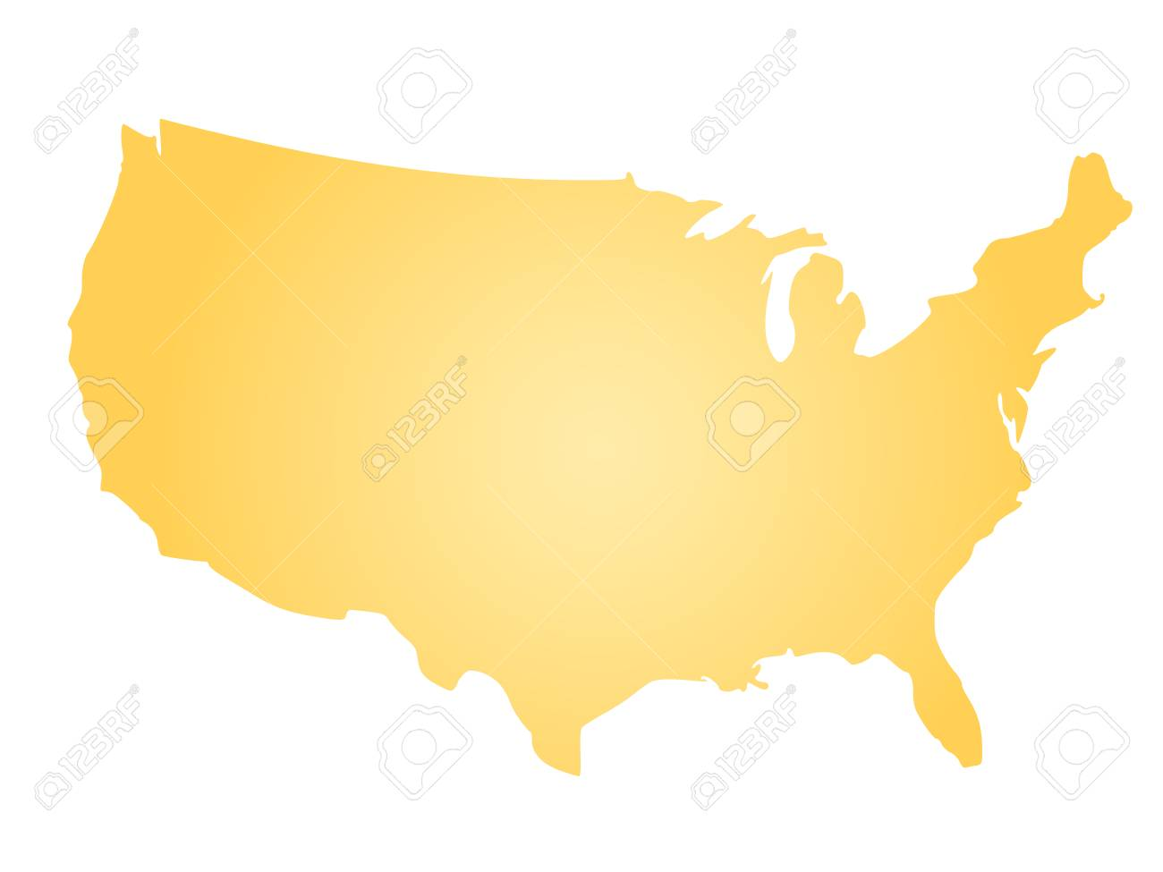 vector yellow radial gradient silhouette map of united states of america aka usa vector illustration