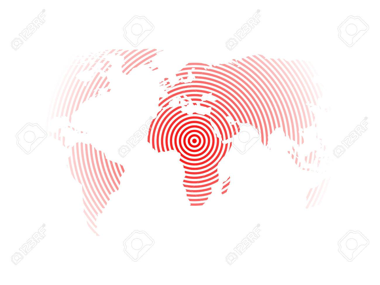 Modern Design World Map. World map of red concentric rings on white background  Earthquake epicentre theme Modern design Map Of Red Concentric Rings On White Background