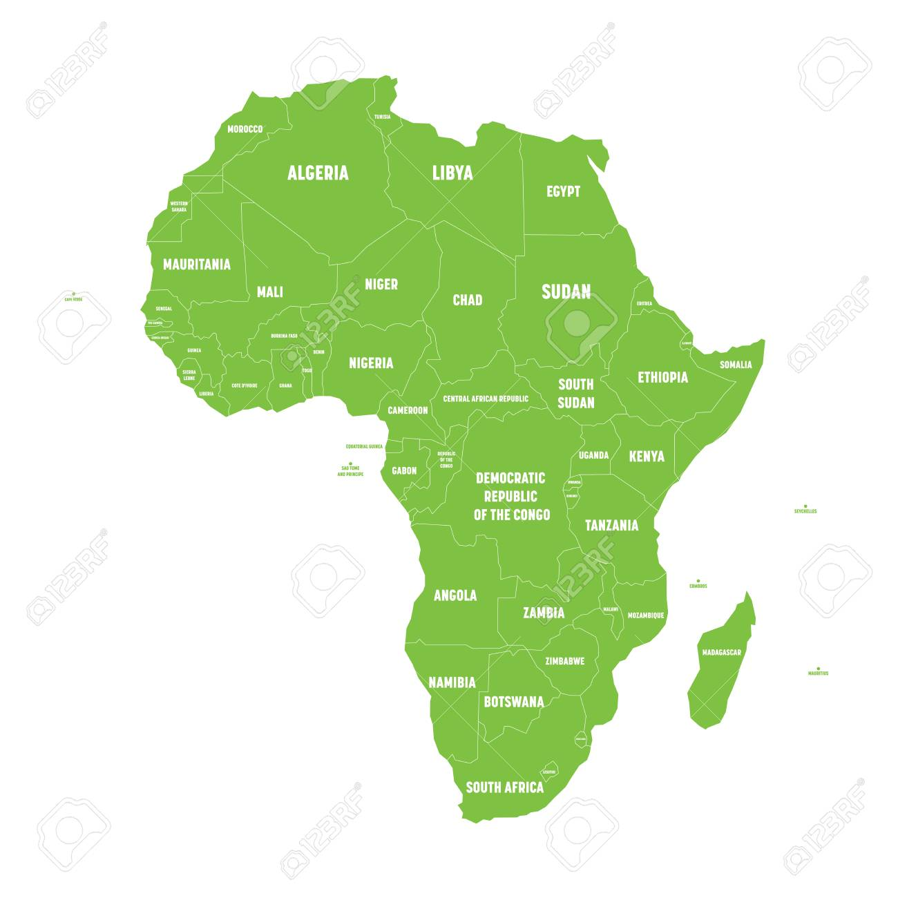 Simple flat green map of africa continent with national borders simple flat green map of africa continent with national borders and country name labels on white gumiabroncs Image collections