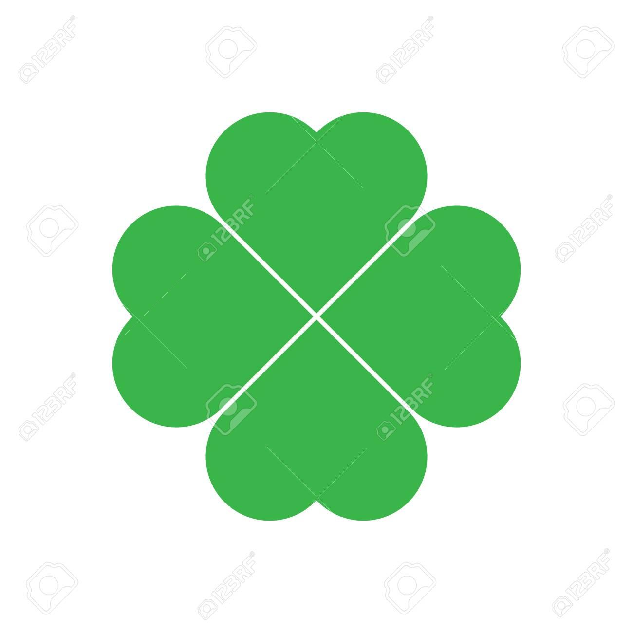 shamrock green four leaf clover icon good luck theme design element simple geometrical