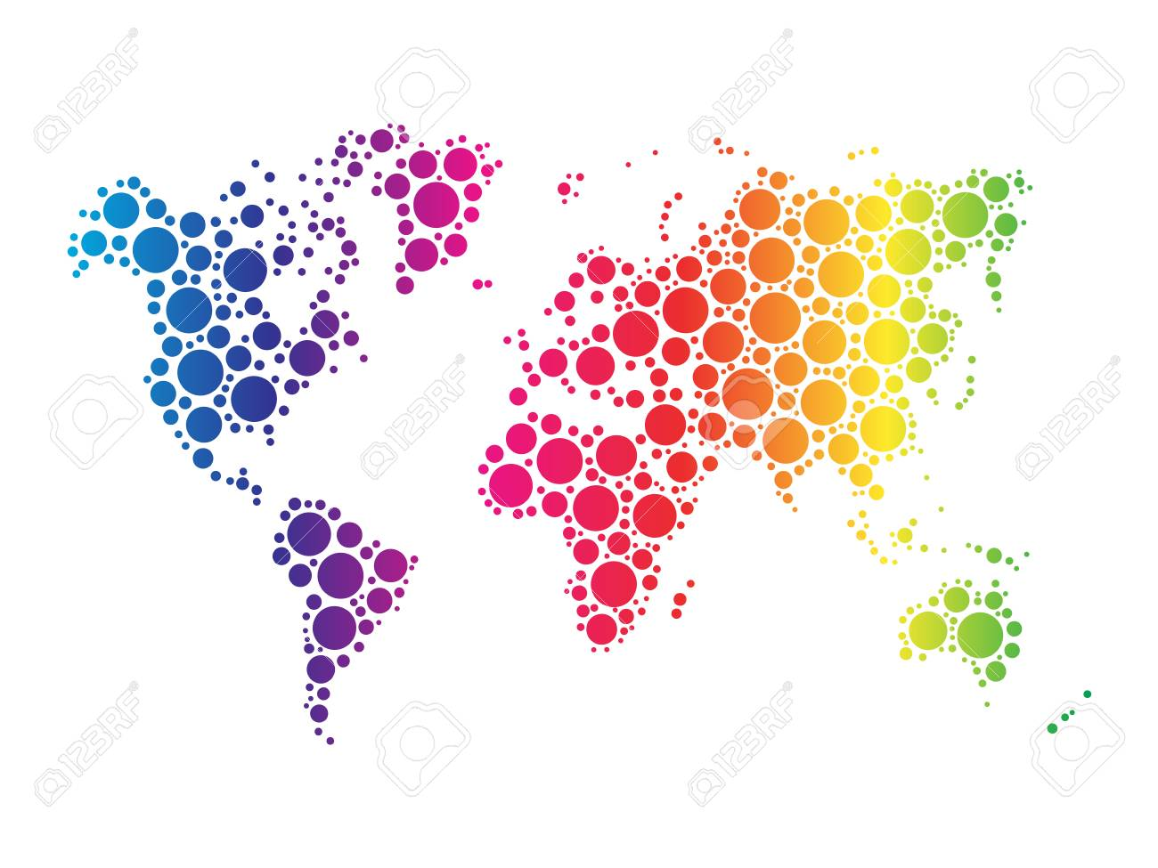 Stock Photo   World Map Wallpaper Mosaic Of Dots In Rainbow Spectrum Colors  On White Background.