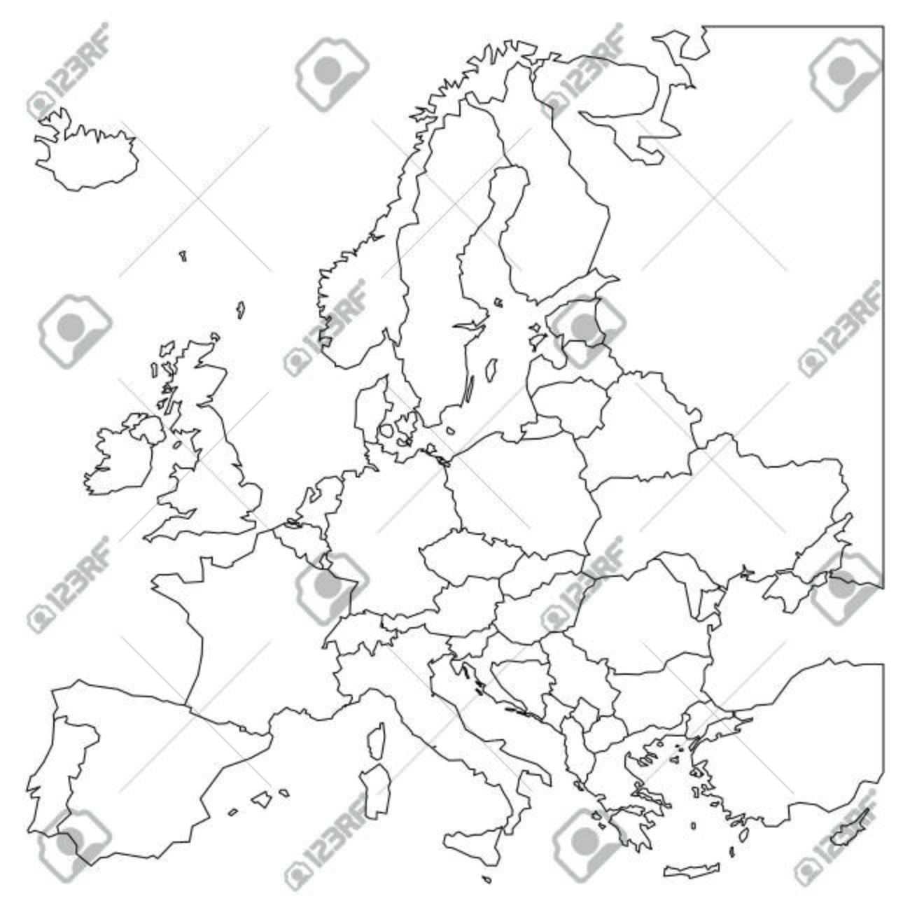 Carte Europe Noir Et Blanc.Carte D Ensemble En Blanc De L Europe Carte Simplifiee Wireframe De Bordures Doublees De Noir