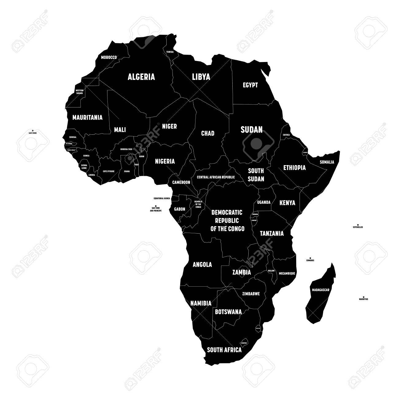 Simple Flat Black Map Of Africa Continent With National Borders