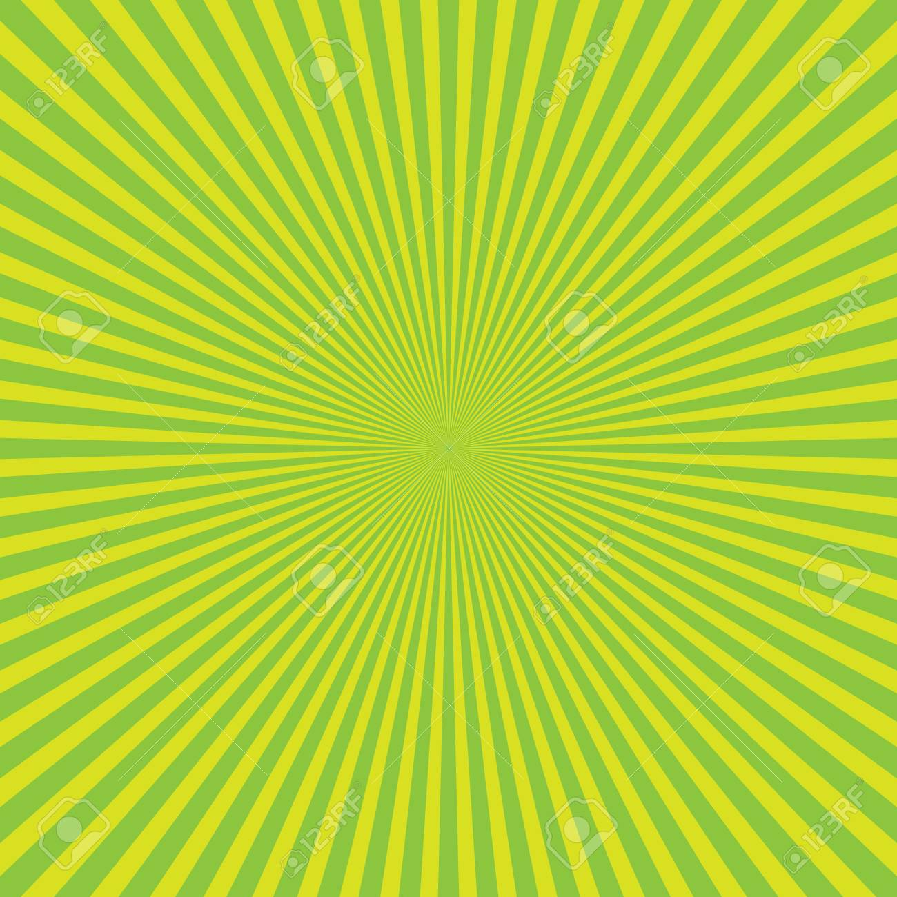 Green-yellow Color Burst Background Of Light Rays. Cartoon And ...