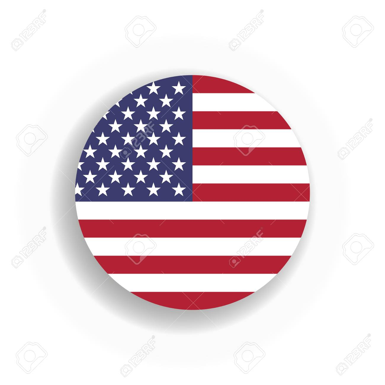 usa flag int he circle with dropped shadow united states of rh 123rf com US Flag Vector Graphic US Flag Vector Clip Art