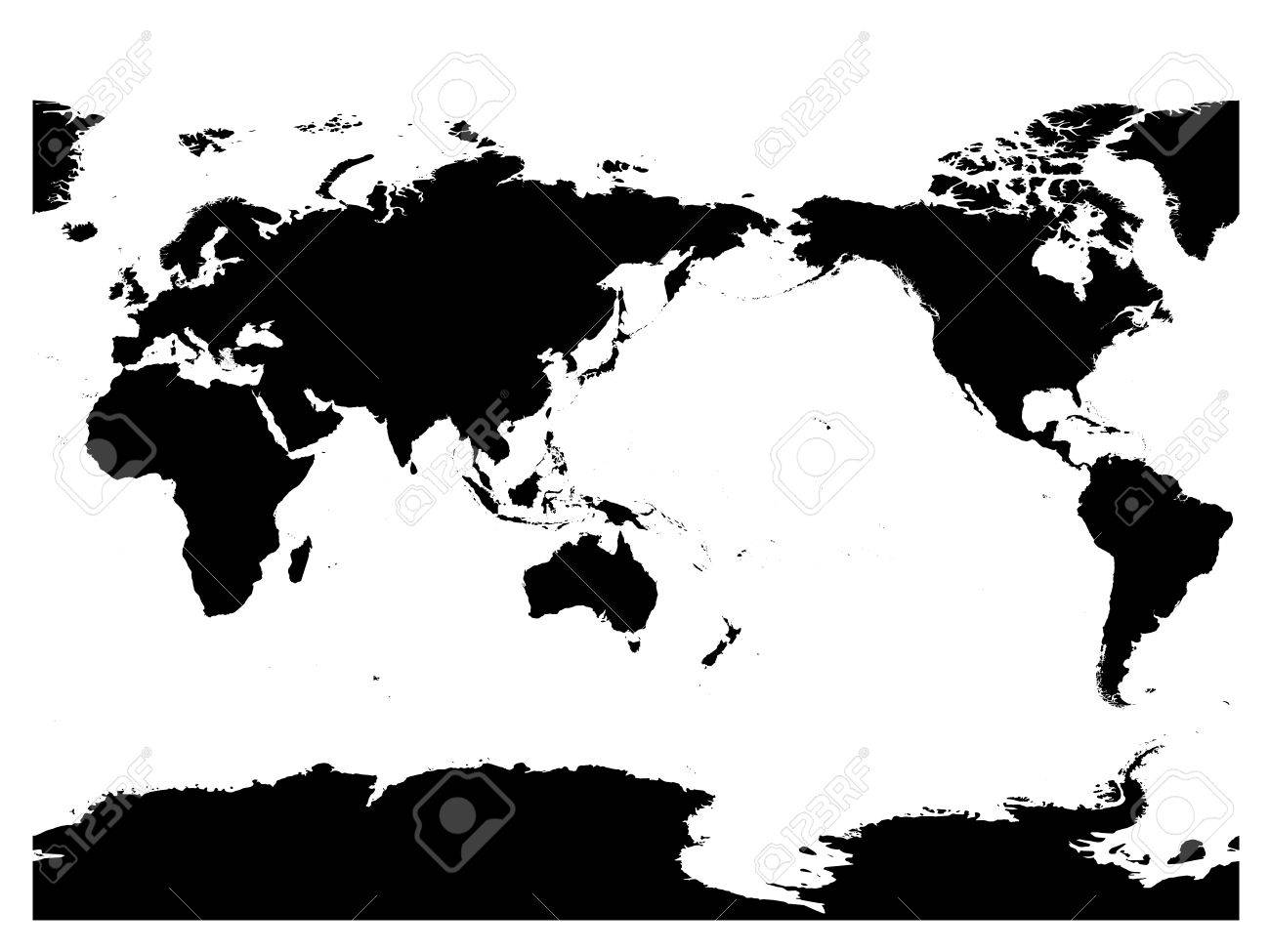 Australia and pacific ocean centered world map high detail black australia and pacific ocean centered world map high detail black silhouette on white background gumiabroncs Image collections