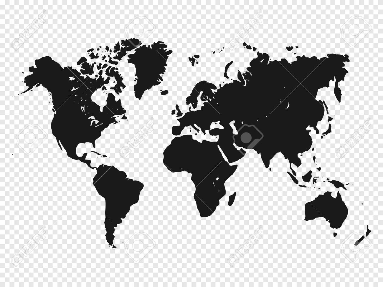 Black World Map Silhouette On Transparent Background. Vector
