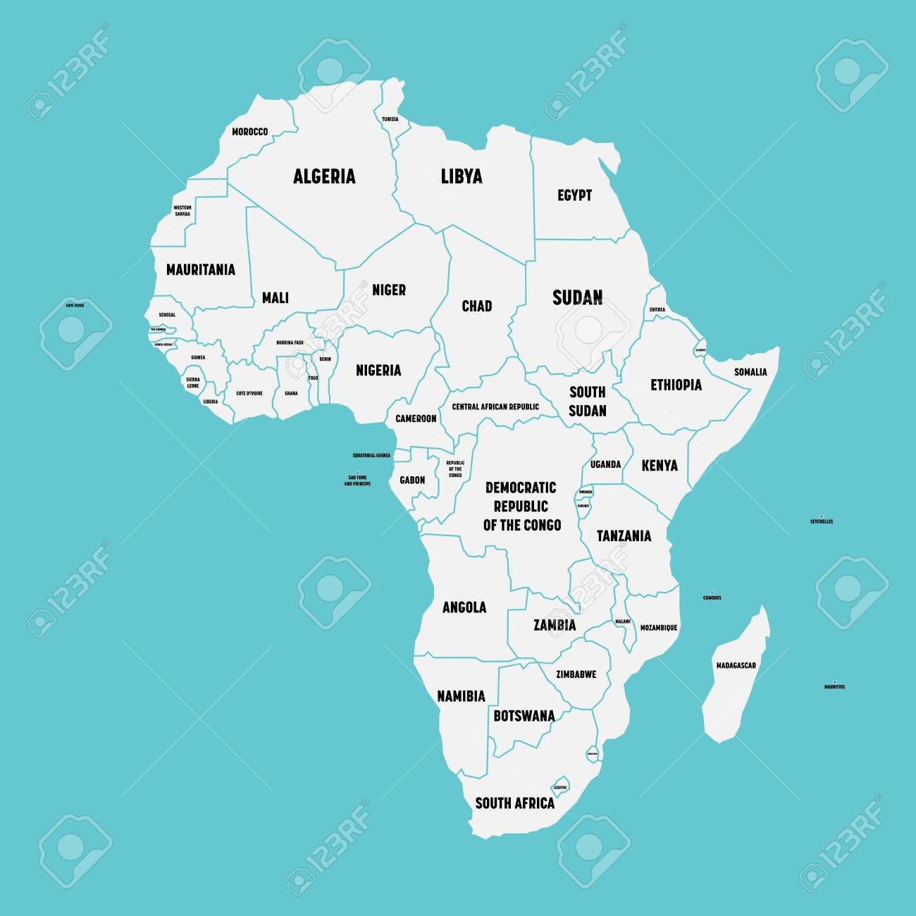 Simple flat map of africa continent with national borders and simple flat map of africa continent with national borders and country name labels on blue background ccuart Images