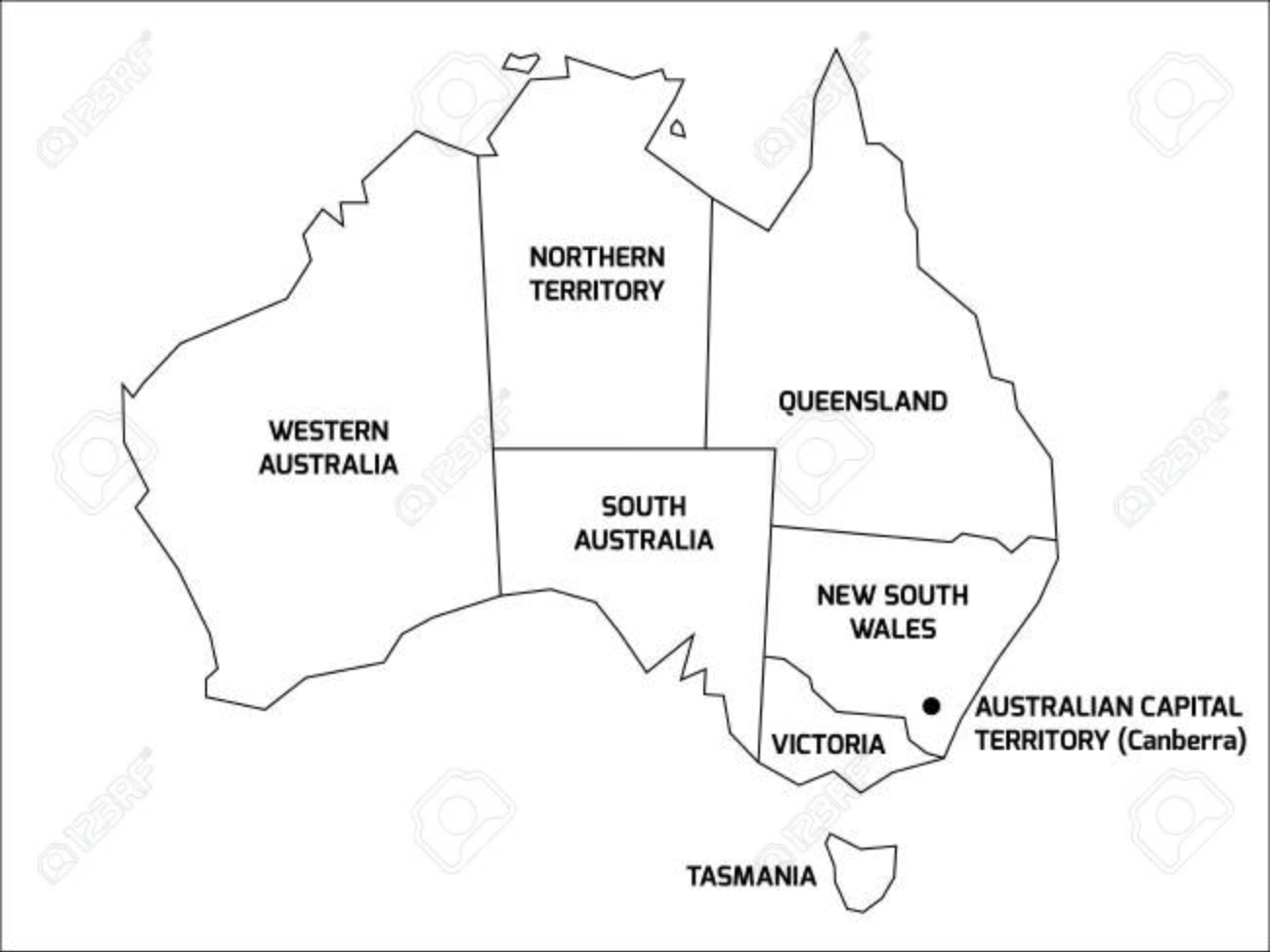 simplified map of australia divided into states and territories black outline map with labels