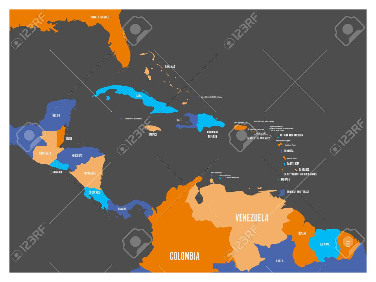 Central America and Carribean states political map with country..
