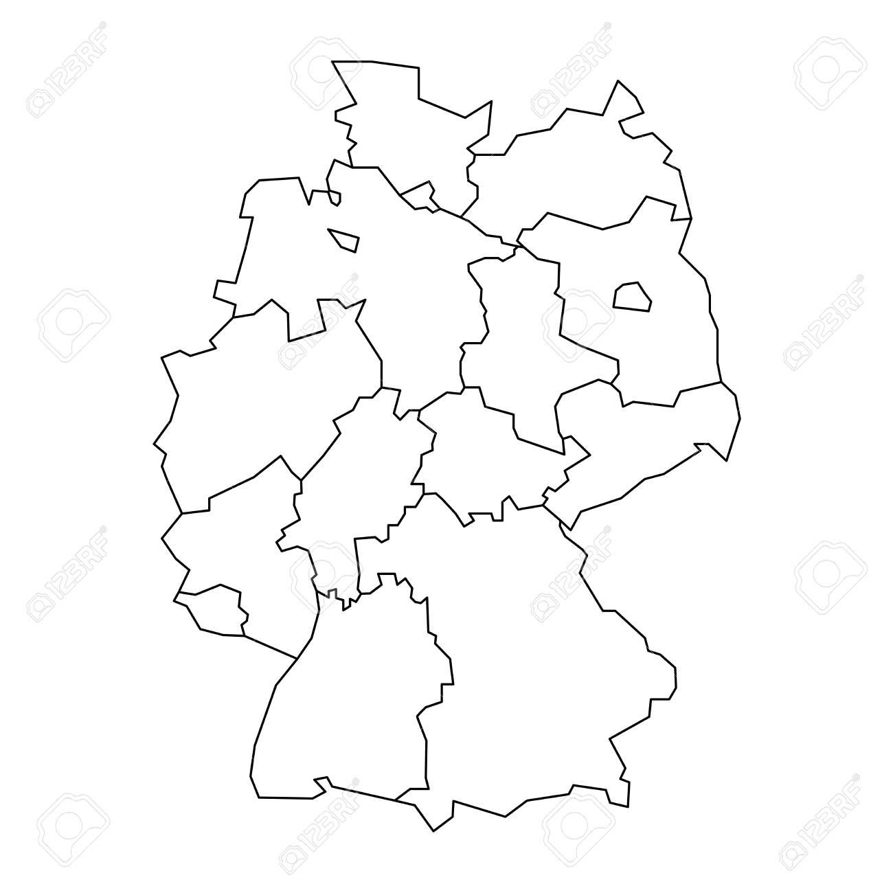 Carte Allemagne Divisee.Carte De L Allemagne Divisee En 13 Etats Federaux Et 3 Villes Etats Berlin Breme Et Hambourg En Europe Carte Vectorielle Blanche Plate Et Simple