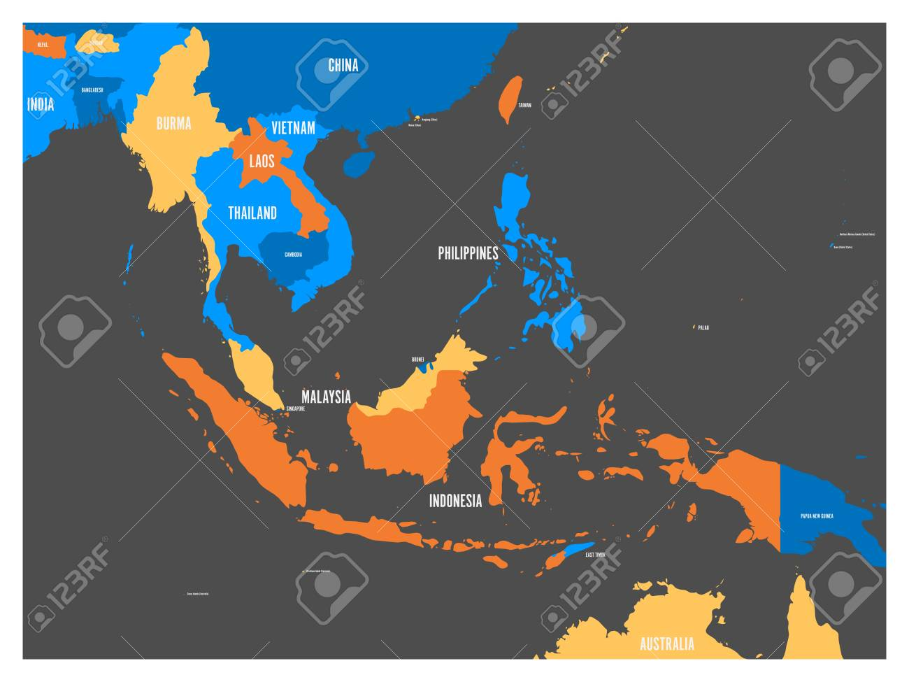 South East Asia Political Map In Four Colors With White Country ...