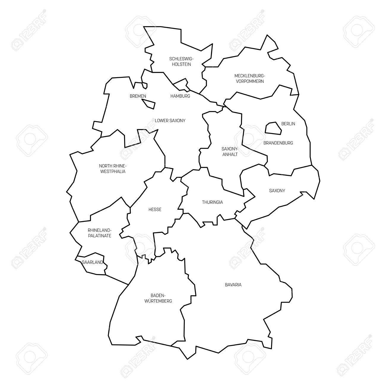 Germania Cartina Muta.Vettoriale Mappa Della Germania Divisa A 13 Stati Federali E 3 Citta Stato Berlino Brema E Amburgo L Europa Semplice Mappa Vettoriale Bianco Piatto Con Contorni Neri E Le Etichette Image 77734971