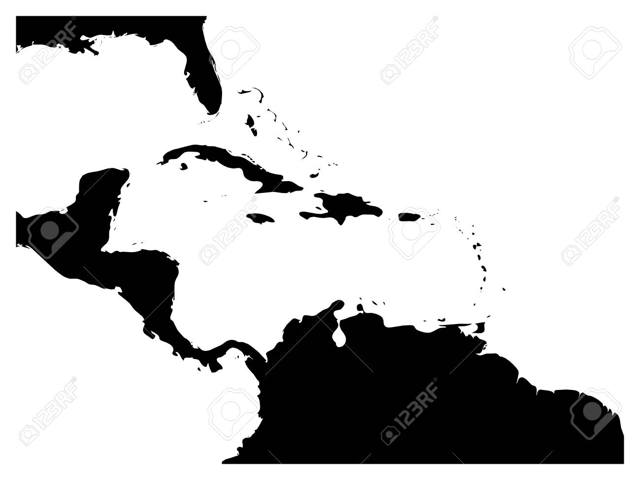 Map Of Caribbean Region And Central America. Black Land Silhouette And White  Water. Simple