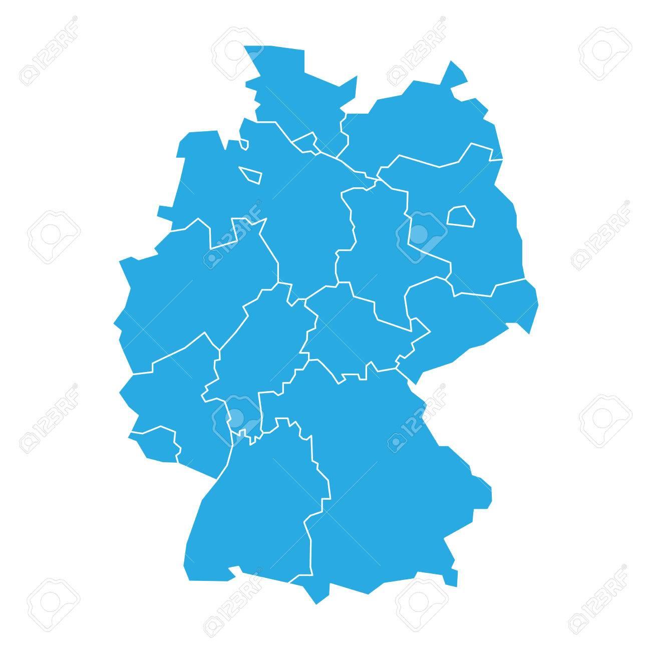 Carte Allemagne Simple.Carte De L Allemagne Consacree A 13 Etats Federaux Et 3 Villes Etats Berlin Breme Et Hambourg Silhouette De Carte Vectorielle Bleue Plate Simple