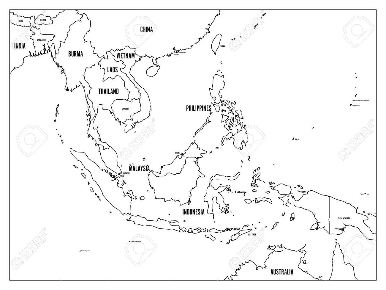Blank Map Of Asia To Label.South East Asia Political Map Black Outline On White Background