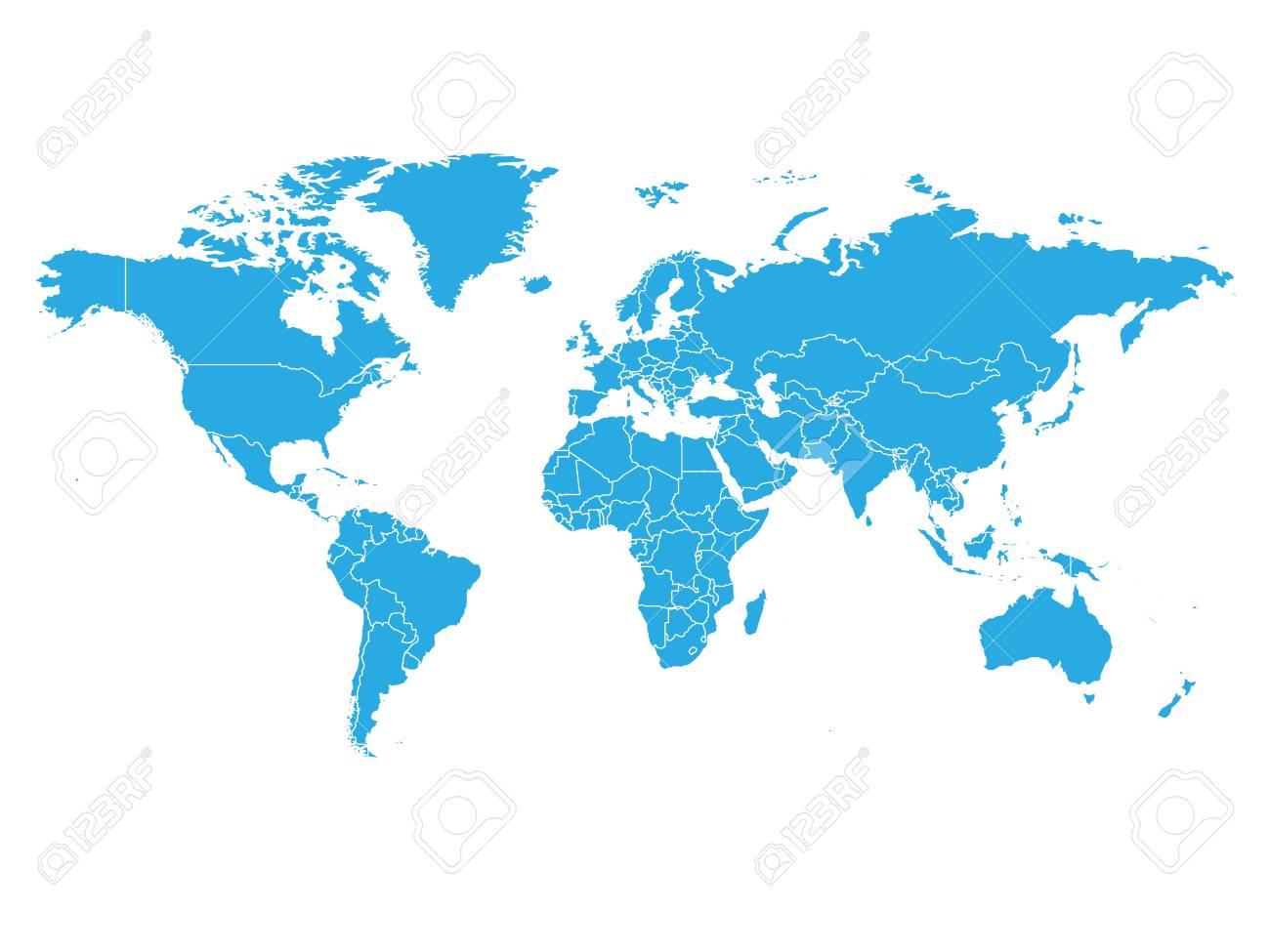 carte du monde en couleur Carte Du Monde En Couleur Bleu Sur Fond Blanc. Carte Politique