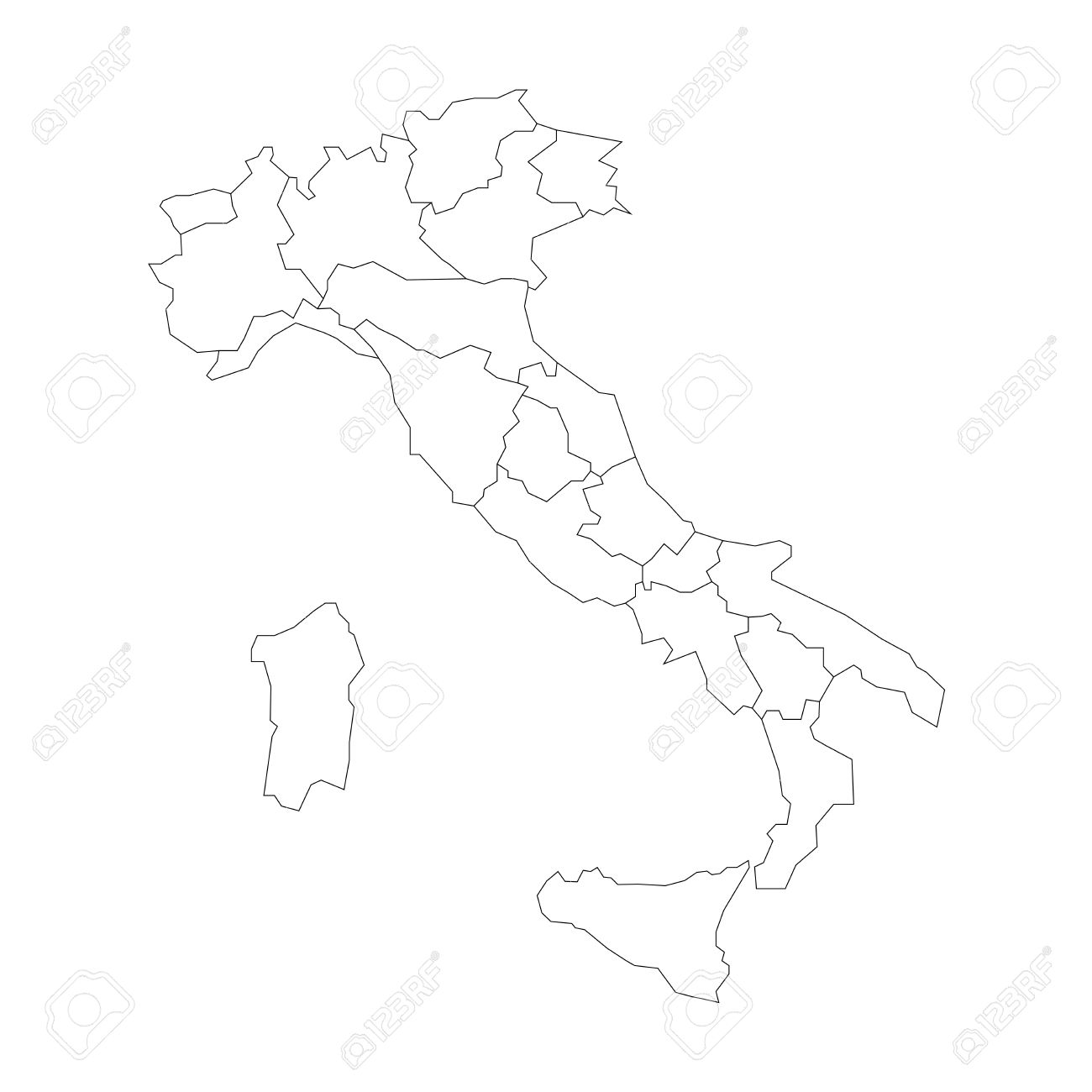 Black And White Map Of Italy.Map Of Italy Divided Into 20 Administrative Regions White Land