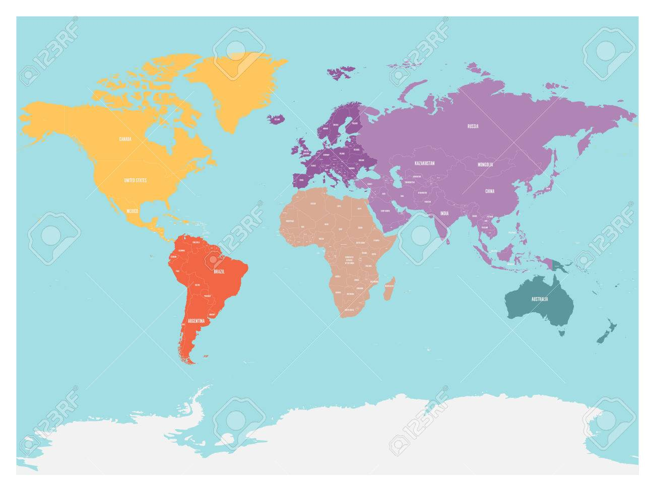 Political map of world with antarctica continents in different political map of world with antarctica continents in different colors on blue background black gumiabroncs Choice Image