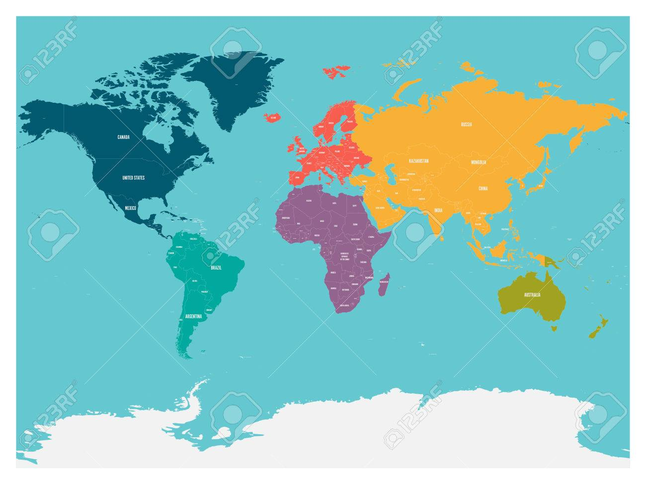 Political map of world with antarctica continents in different political map of world with antarctica continents in different colors on blue background white publicscrutiny Image collections