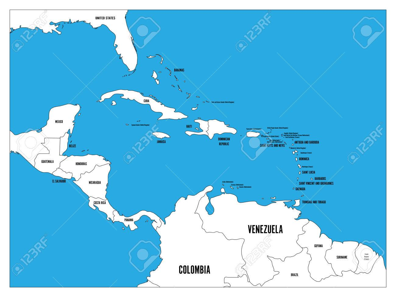 Central america and carribean states political map black outline central america and carribean states political map black outline borders with black country names labels gumiabroncs Image collections