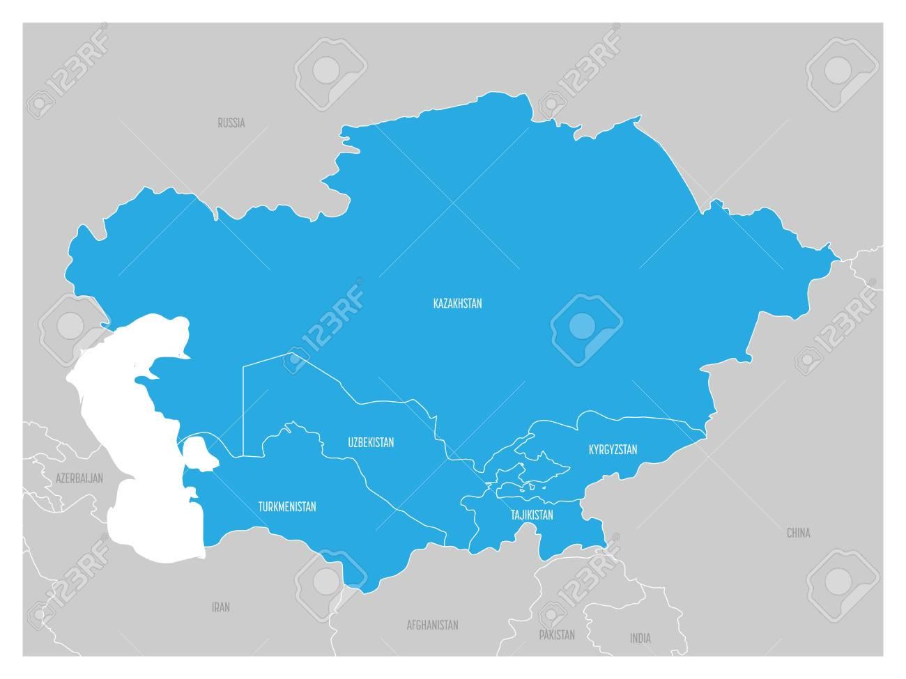La Carte De Lasie Centrale.Carte De La Region De L Asie Centrale Avec Le Bleu En Surbrillance Du Kazakhstan Du Kirghizistan Du Tadjikistan Du Turkmenistan Et De