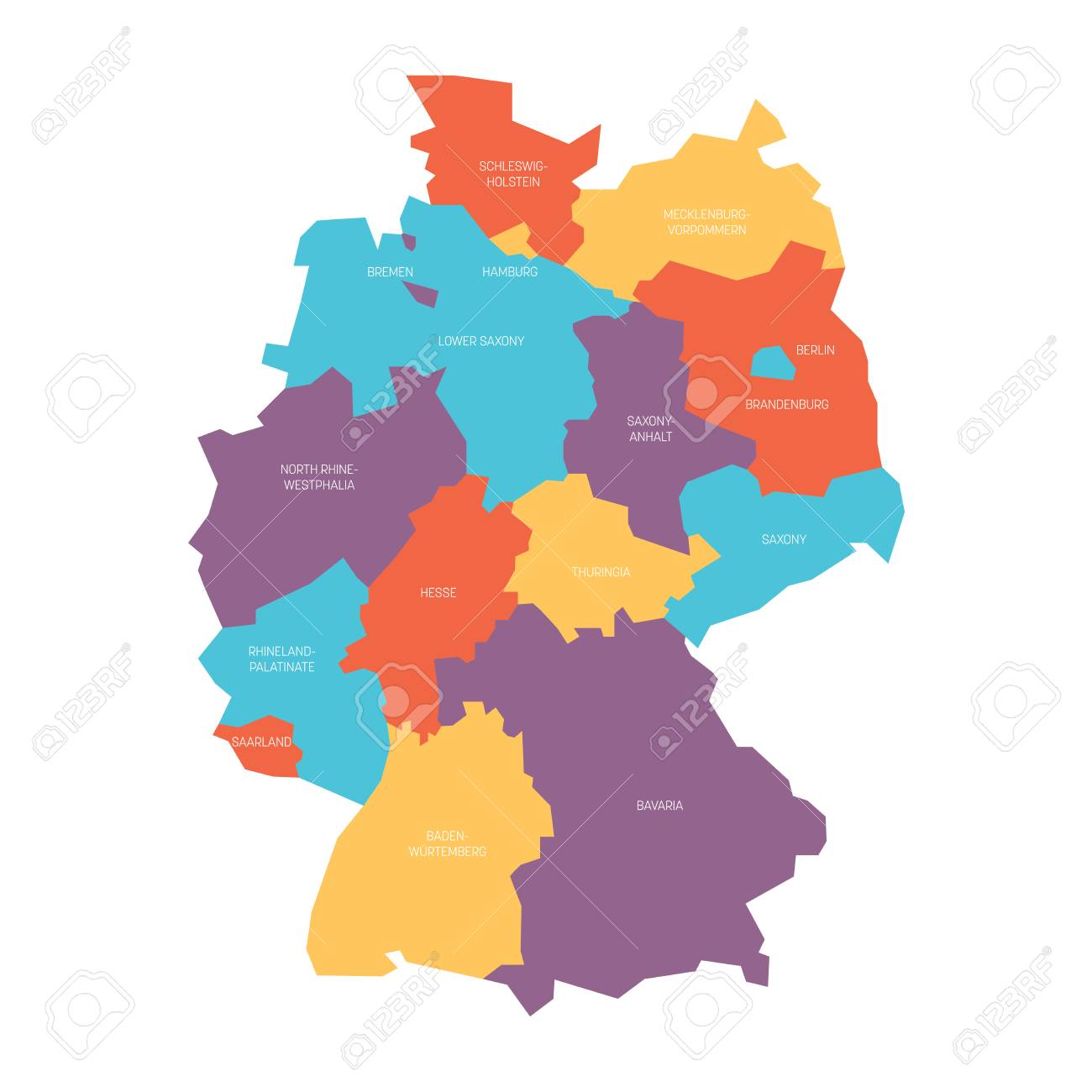 Map of Germany devided to 13 federal states and 3 city-states..