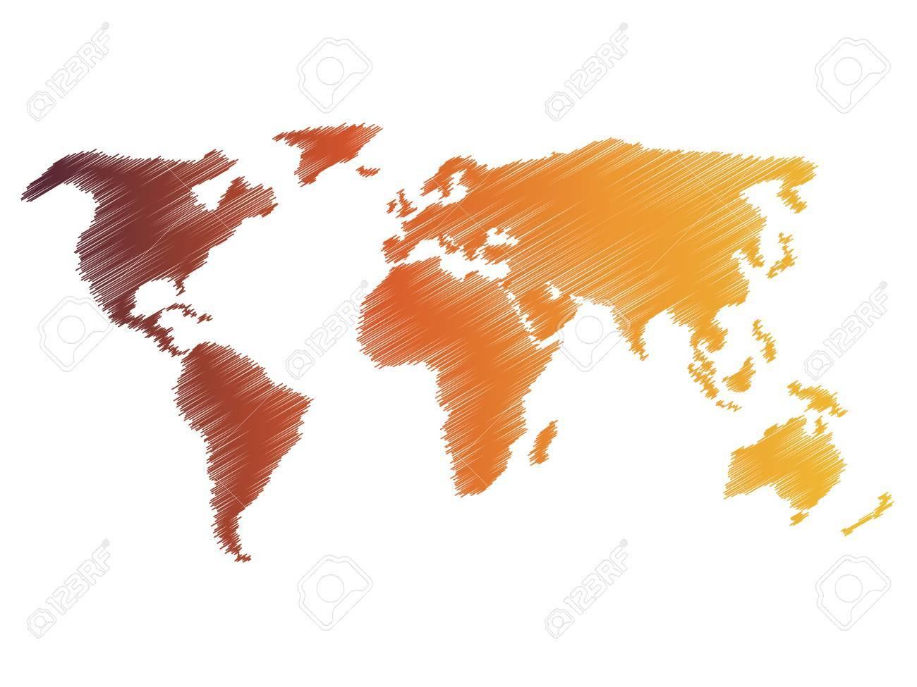 carte du monde dessin simplifié Pencil Scribble Sketch Map Of World. Hand Doodle Drawing. Vector