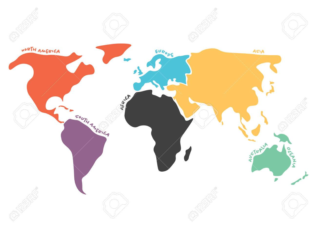 Multicolored world map divided to six continents in different multicolored world map divided to six continents in different colors simplified silhouette vector map with gumiabroncs