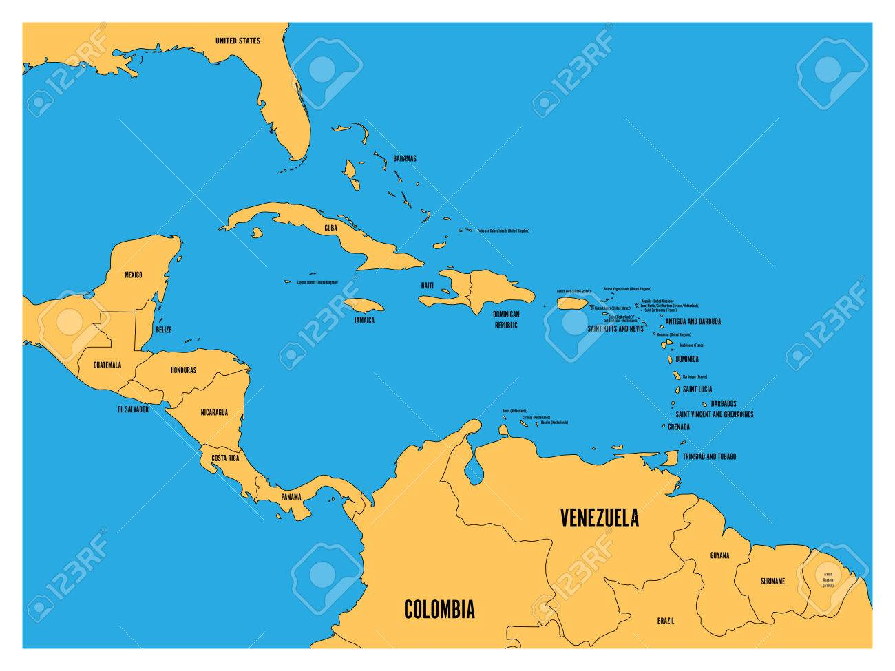 Central America And Carribean States Political Map Yellow Land