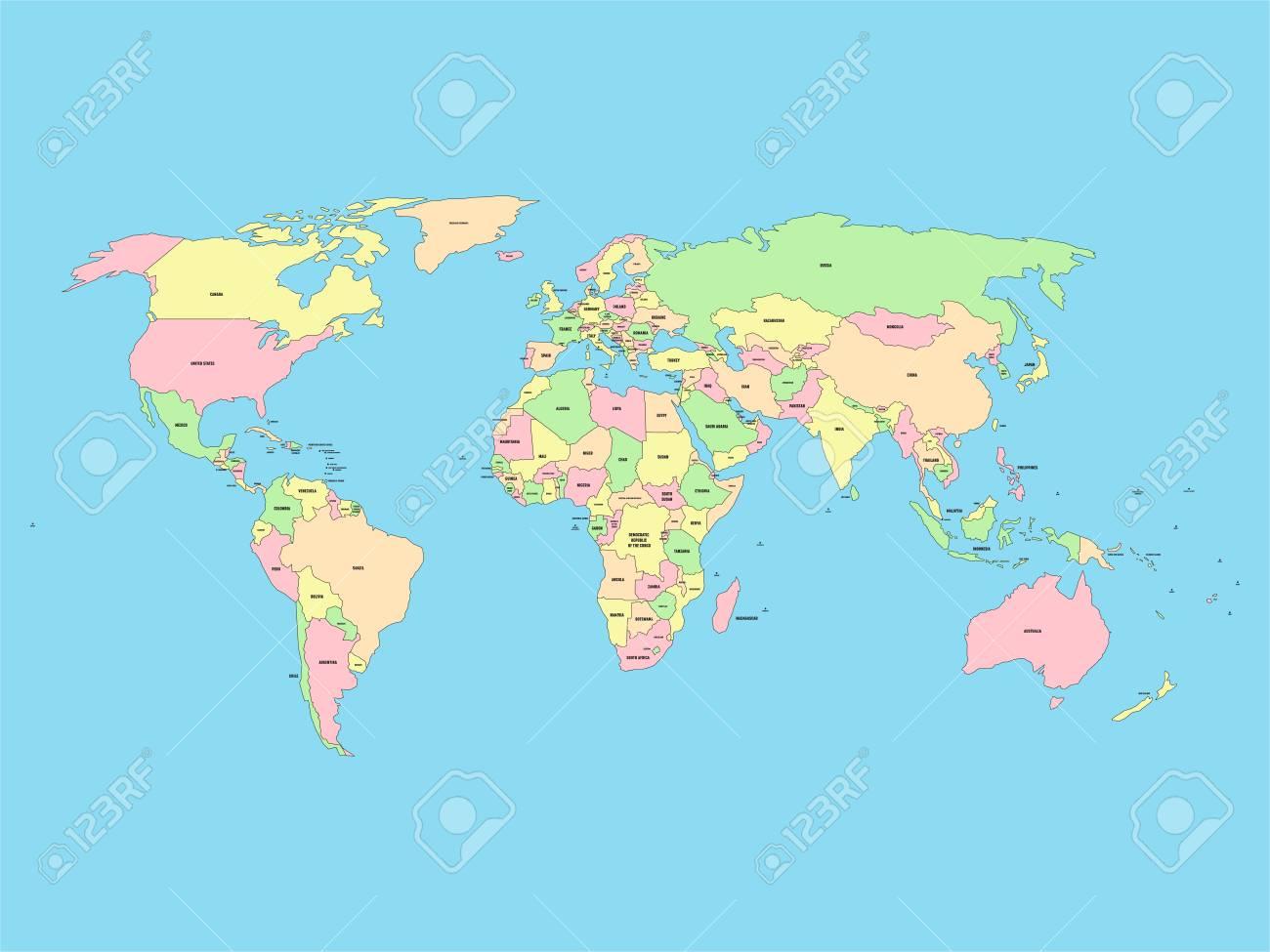Cartina Geografica Mondo Con Nomi.Mappa Del Mondo Con Nomi Di Paesi Sovrani E Territori Piu Grandi Dipendenti Mappa Vettoriale Semplificata In Quattro Colori Su Sfondo Blu