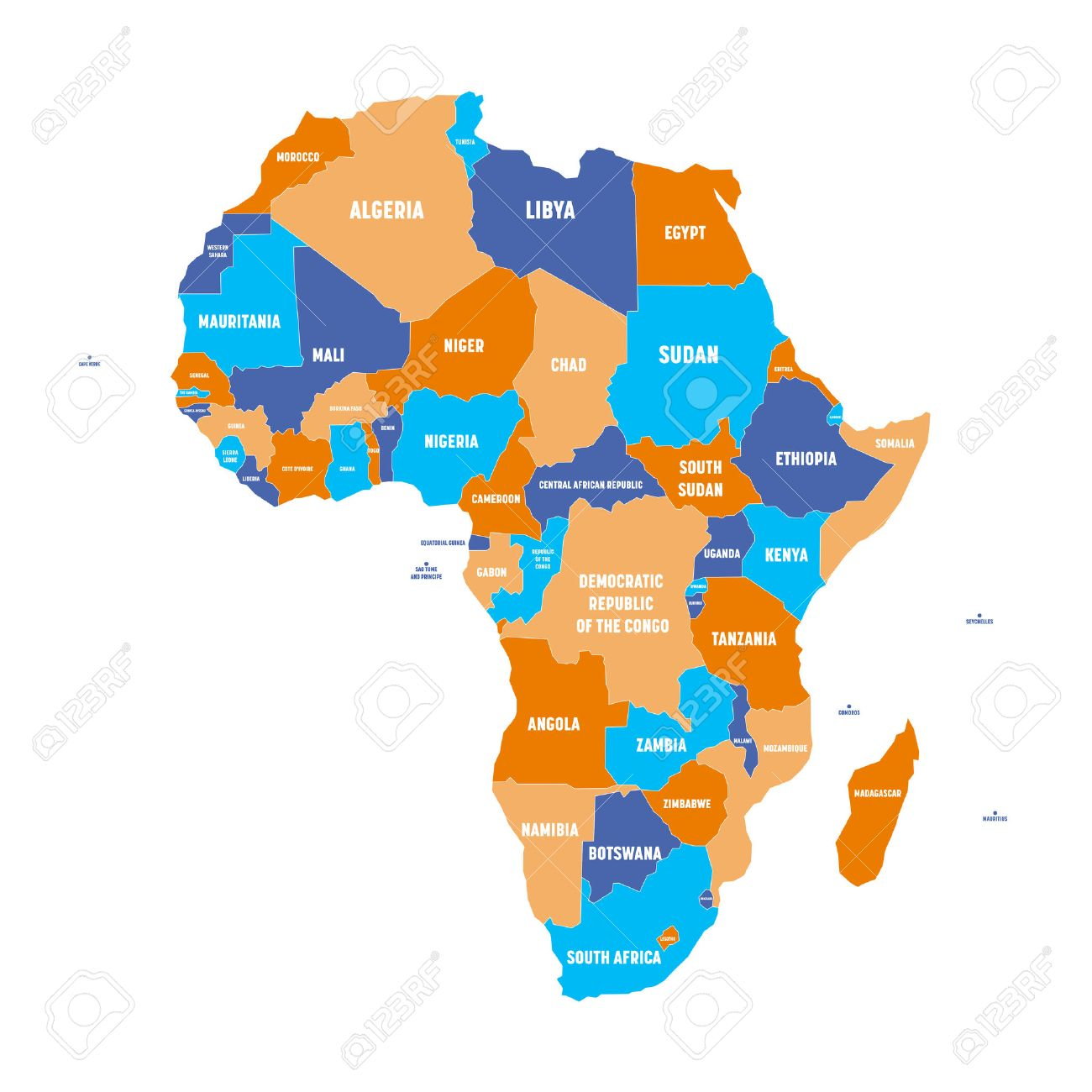 Multicolored Political Map Of Africa Continent With National - World political map with country names