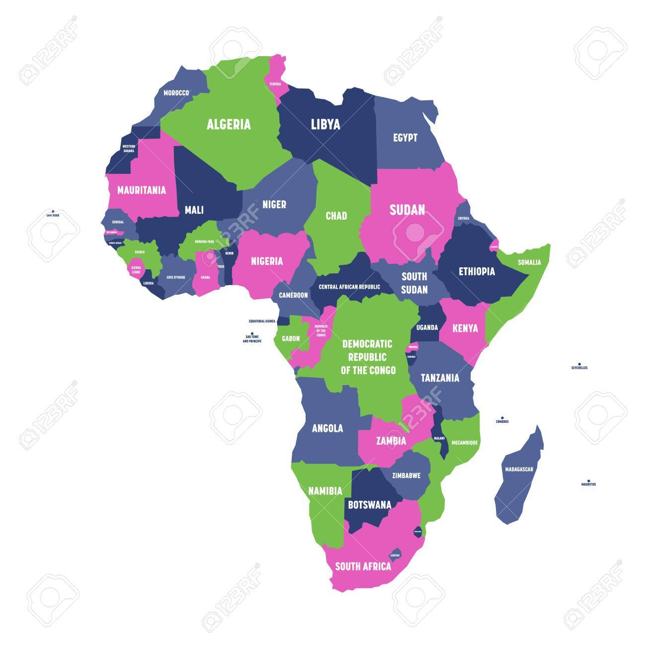 map of africa with labels Multicolored Political Map Of Africa Continent With National map of africa with labels