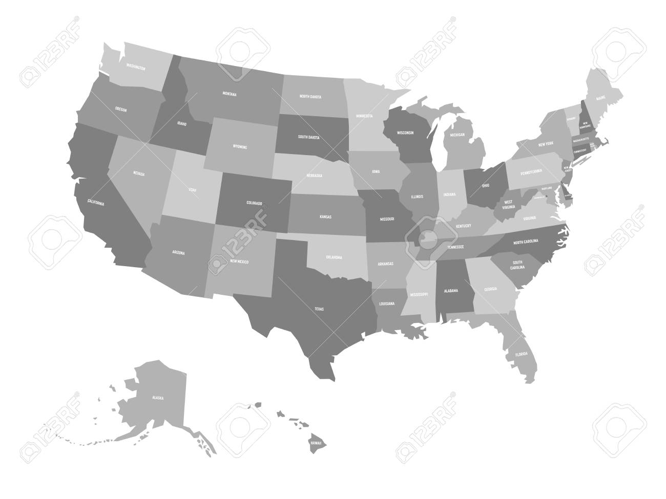 Political Map United States Od America USA Simple Flat Vector