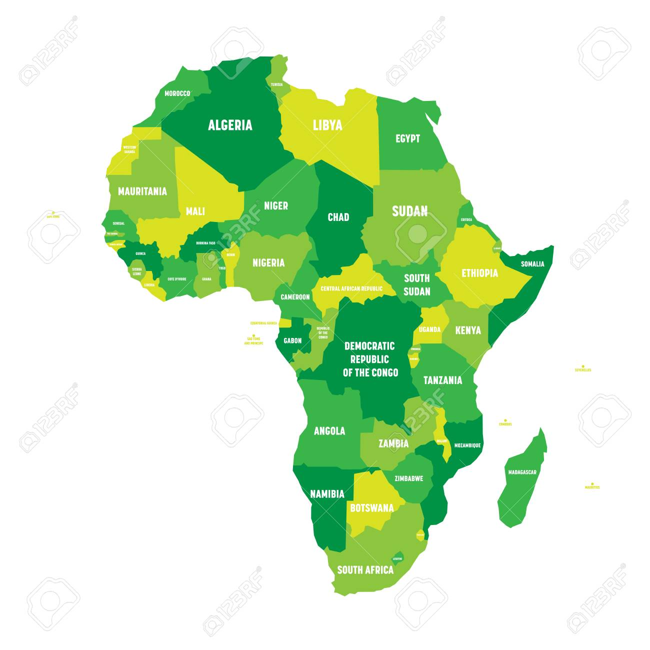 Political Map Of Africa In Four Shades Of Green With White Country