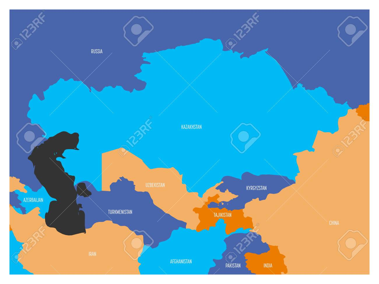 Map of central asia region with flat map in four colors with map of central asia region with flat map in four colors with white country borders publicscrutiny Image collections